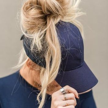 Messy Bun Baseball Hats - Navy