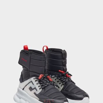 Versace Black Chain Reaction Sneaker Boots for Men | US Online Store