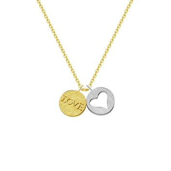 Romantic I Love You Round Couples Heart Necklaces for Women Charm Stainless Steel Chain Friendship BFF Jewelry Valentine's Gift