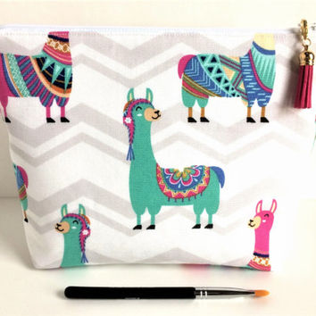 Large Makeup Bag, Lama Cosmetic Bag, Art Supply Bag, Large Project Bag, Lama Zipper Pouch