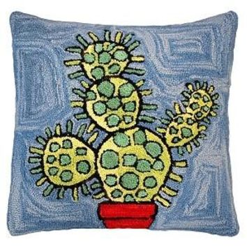"""Blooming Cactus 20"""" Hand Hooked Wool Pillow (Blue)"""