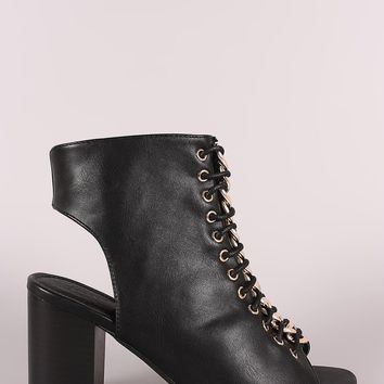 Chain Accent Corset Lace-Up Peep Toe Chunky Heel