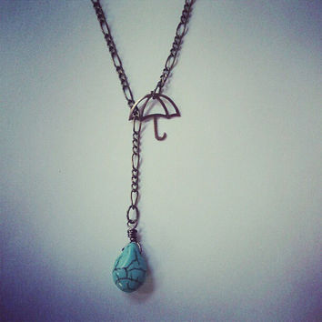 Umbrella Turquoise Raindrop Necklace- Rain Drop Rainy Day Antique Brass Vintage Bronze Lariat Charm Pendant