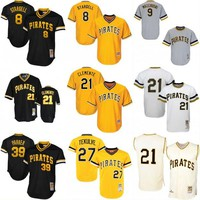 Pittsburgh Pirates Throwback Jersey Mens 8 Willie Stargell 9 Bill Mazeroski 39 Dave Park 27 Kent Tekulve Roberto Clemente Baseball Jerseys