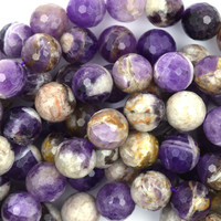 """12mm faceted natural amethyst round beads 15.5"""" strand"""