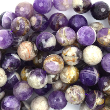 "12mm faceted natural amethyst round beads 15.5"" strand"