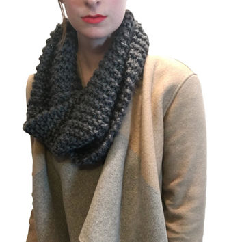Outlander Inspired Unisex Grey Infinity Chunky Knit Stocking Stuffer Scarf Cowl (More colors available)