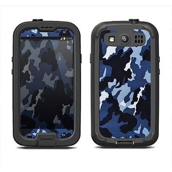 The Blue Vector Camo Samsung Galaxy S3 LifeProof Fre Case Skin Set