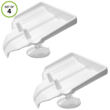 Evelots Soap Holder W/Drain-Suction Cups-Shower-Sink-Soap Saver-Stay dry-Set/4