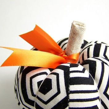 Pumpkin Pincushion in Black and White Mod by SeaPinks on Etsy