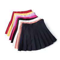 High-Waisted Pleat Mini Skirt