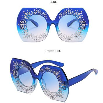 New Arrival Fashion Diamond on Temple Lady Sunglasses