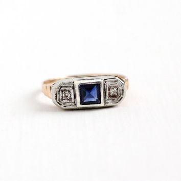Vintage 10k Rose and White Gold Diamond & Created Blue Sapphire Ring - Art Deco 1930s Size 6 3/4 Two Tone Anniversary 3 Stone Fine Jewelry