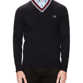 Fred Perry Men's Wool Bold V-Neck Sweater - Blue -