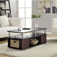 Contemporary Living Room Furniture Open Storage Coffee Table Black/Cherry Finish