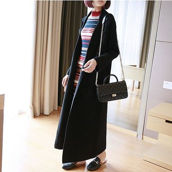 Fashion 2017 V neck women sweater coat long cardigan with packet winter thick