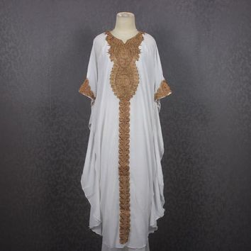 Marrakesh Resort White Caftan Dress, Maternity Gifts, Fancy Gold Embroidered Dress Kaftan Guitar Style Dress, Resortwear, Loungewear