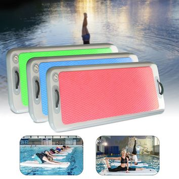 Inflatable Floating Yoga Mat Air Pads Track w/ 110V/220V Air Pump for Water Beach Outdoor/Indoor