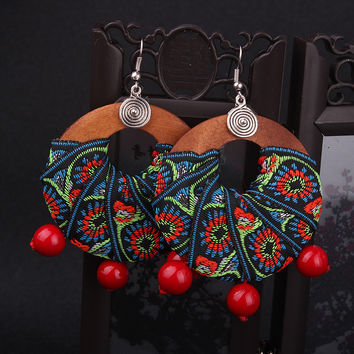 Handmade Chinese wind traditional wood dangle earrings with embroidery lace fabric