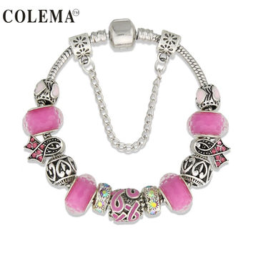 Lovely Girl Silver Plated Women Bracelet Murano Glass Bead Crystal New Breast Cancer Awareness Pink Ribbon Bracelet Jewelry