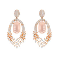 Luminus Earrings in White Gold with Diamonds and Rose Quartz