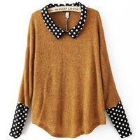 Khaki Batwing Sleeve Knit Tops with Contrast Dot Collar and Cuffs