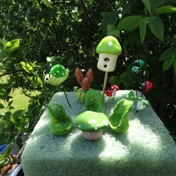 huge set of fairy garden furniture fairy table chairs bird house fairy snail and ladybugs and mushrooms terrarium planter
