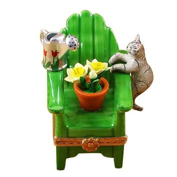 Cats on Chair Plant Limoges Boxes Porcelain