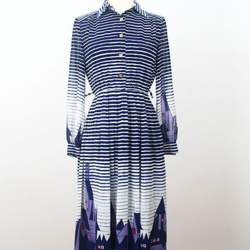 Japanese Vintage Dress S// 70s Dress// Town Before Midnight Dress// Striped Blue Japan