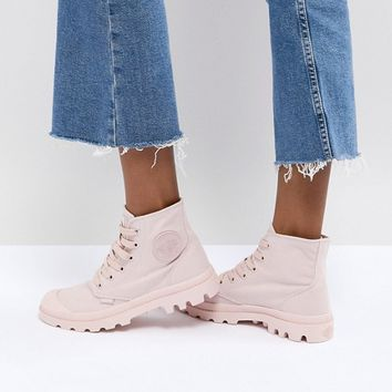 Palladium Pampa Monochrome Pink Textile Flat Ankle Boots at asos.com
