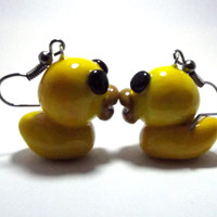 Cute Yellow Rubber Duck Ducky Duckie Polymer Poly Clay Earrings. Handmade Custom Cute Jewelry. Dangle Drop Fish Hook Earrings.