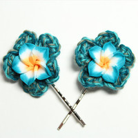 Teal plumeria bobby pins. Flower hair accessories. Teal crochet hair pins.