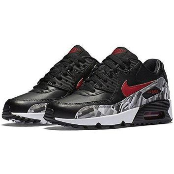 Nike 844602-001 Kids Air Max 90 Print Leather Running Shoes, Black/Gym Red/White, 4 M