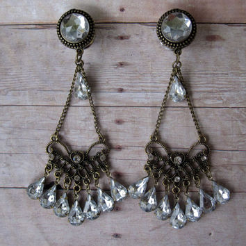 "One of a Kind - Pair of Antique Brass & Rhinestone Formal Dangle Plugs - Wedding Gauges - Bridal - 00g, 7/16"", 1/2"" (8mm, 10mm, 11mm, 12mm)"