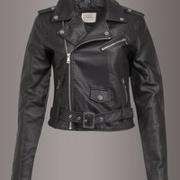 Born To Be Wild Faux Leather Biker Jacket