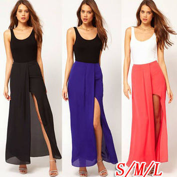 Split Chiffon Beach Loose Sexy Long Skirt