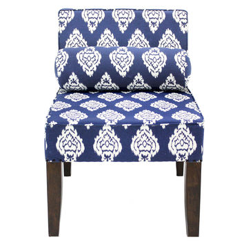 Isabelle Armless Chair, Navy Ikat, Accent & Occasional Chairs