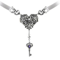 Inamorato Heart Locket and Key Necklace by Alchemy Gothic