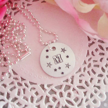 College Varsity Initial Hand Stamped Necklace ith Stars Be Personalized Customized
