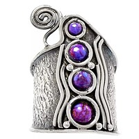 Purple Turquoise Sterling Silver Whimsical Band Ring