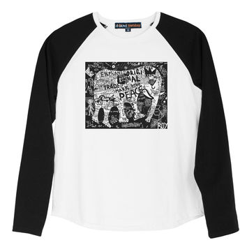 Kid's Elephant & Symbols Printed Cotton Long Sleeves Raglan T-shirt UTS_01