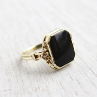 Antique 14K Yellow Gold Onyx Black Stone Ring - Vintage 1930s Size 5 1/4 Art Deco Rectangular Fine Jewelry / Floral Accents