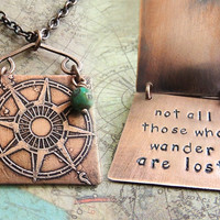 Travel Necklace, Wanderlust Necklace, Not All Those Who Wander Are Lost, Etched Compass, Travel Quote, Tolkien Quote, Lord of the Rings