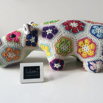 Big Crocheted Hippo - Handmade Stuffed Animal - African Flowers - Gift for Kids - Plush Toy - Kids Decoration - Hippy the Hippo