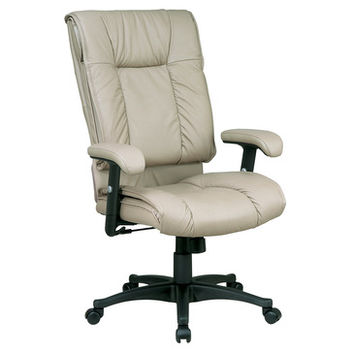 Work Smart EX Series EX9382-1 Deluxe High Back Executive Deluxe Coated Tan Leather Chair w/ Pillow Top Seat & Back