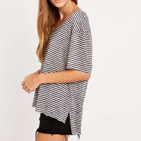 Silence + Noise Loose Fit Striped V-Neck Tee - Urban Outfitters