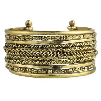 Textured Lines Gold or Silver  Cuff Bracelet
