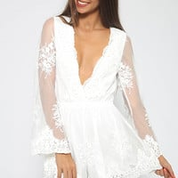 Just In Lace Playsuit - White