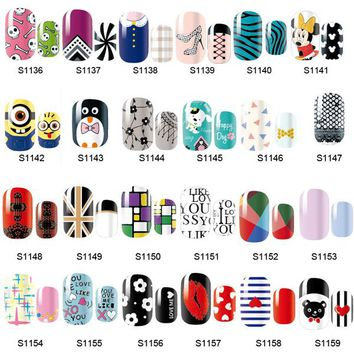 14 Tips NAIL Art Full Self Adhesive Stickers Polish Foils Transfer Tips Wrap Decals Manicure Tool