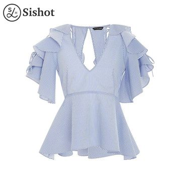 Women casual blouse summer blue stripes slim sexy v neck hollow ruffle sleeve backless hollow casual shirts